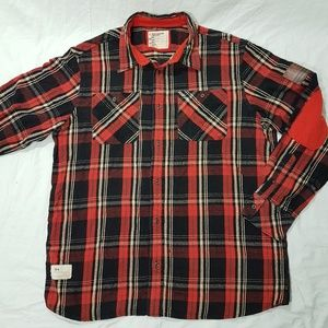 ROCAWEAR Flannel Men's Shirt 2XL Elbow Patches